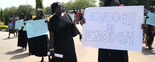 protest of women for peace at south sudan