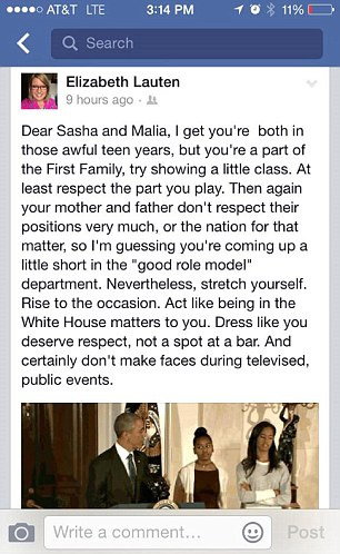 comment on obamas daughter