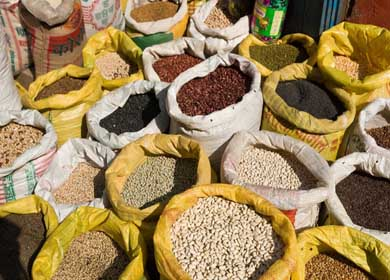 Yellow sacks display beans and lentils for sale at a street market in Kathmandu, the largest city in Nepal (700,000 people).