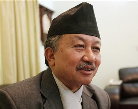 Constituent Assembly Chairman Subhash Nemwang answers questions during an exclusive interview with Reuters at his residence in Kathmandu