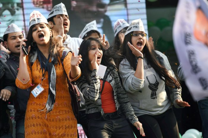 AAP supporters celebrate