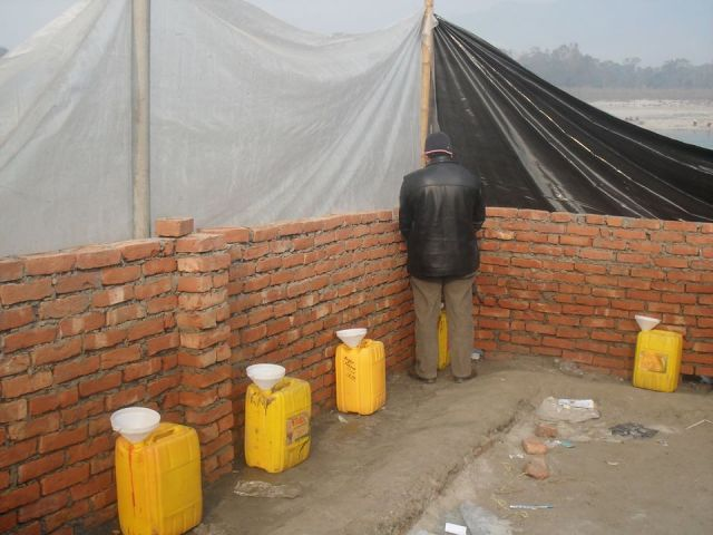 Urine collection in mass